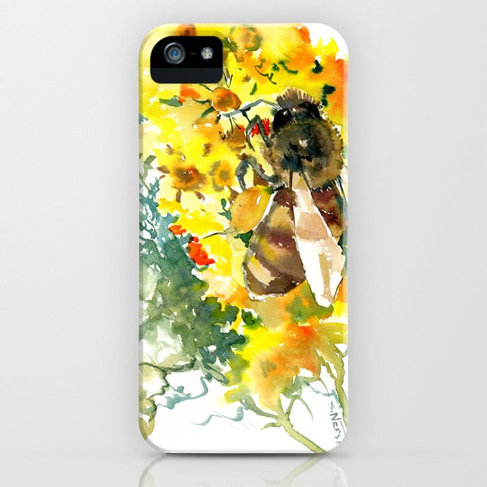 Honey Bee and Flower yellow honey bee design honey making iPhone Case
