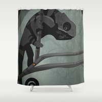 chameleon Shower Curtains featuring Chameleon by Andrew Formosa