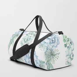 Succulents Pastel Mint Green Turquoise Teal Sky Blue Pattern Duffle Bag