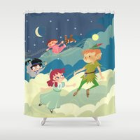 neverland Shower Curtains featuring Off to Neverland! by Kelly Kates