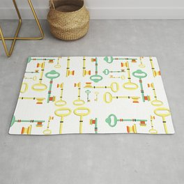Trendy Modern Abstract Antique Key and Lock Print  Rug