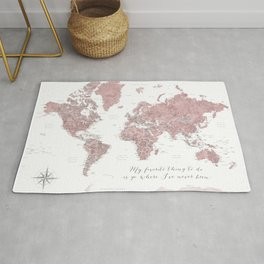 Where I've never been detailed world map in dusty pink Rug