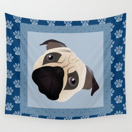Pug with Blue Paw Print Border Wall Tapestry
