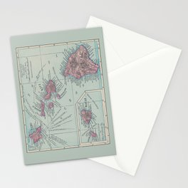 Map of Hawaii Stationery Cards