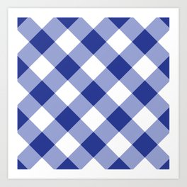 Gingham - Navy Art Print