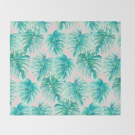 Paradise Palms Blush Throw Blanket
