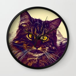 squinting maine coon cat vector art foggy night Wall Clock