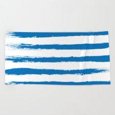 Nautical Blue STRIPES Handpainted Brushstrokes Beach Towel