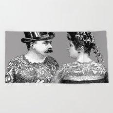 Tattooed Victorian Lovers Beach Towel