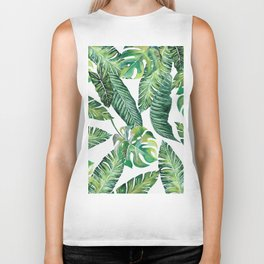 Jungle Leaves, Banana, Monstera #society6 Biker Tank