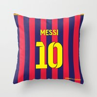 messi Throw Pillows featuring Three Tens: Messi 10 by Crewe Illustrations