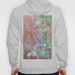 Abstract turquoise flowers on colorful rusty background Hoody