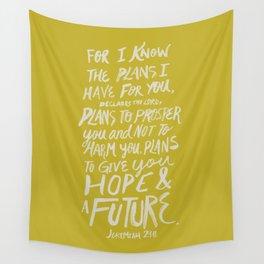 Jeremiah 29: 11 x Mustard Wall Tapestry