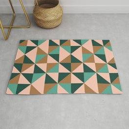 Retro Triangles in Blush Pink, Gold, and Teal Rug