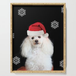Christmas poodle dog Serving Tray