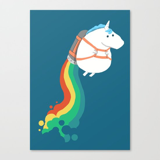 Fat Unicorn on Rainbow Jetpack Canvas Print