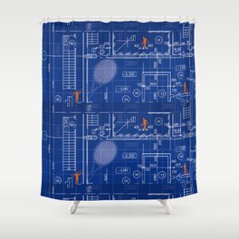 Blue Blueprint with Construction Workers & Tennis Racquet Shower Curtain