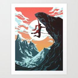 Rock Climbing Girl Vector Art Art Print