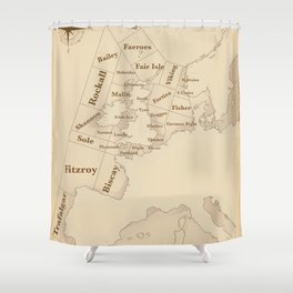 Vintage Style shipping forecast key Shower Curtain