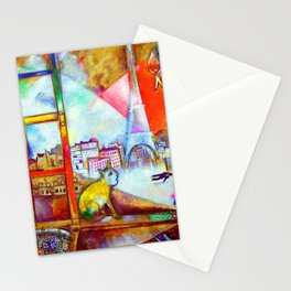 'Paris Through the Window - Eiffel Tower, Seine, & Left Bank' landscape painting by Marc Chagall Stationery Cards