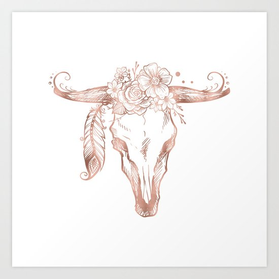 Rose Gold Bull Skull with Pink Feather Flowers Art Print