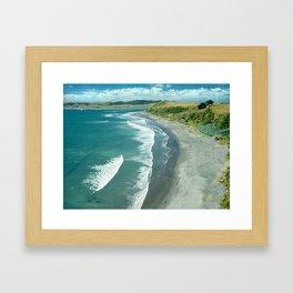 Raglan beach, New Zealand Framed Art Print