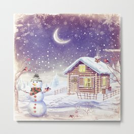 Christmas scene with snowman and house Metal Print
