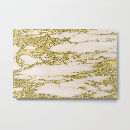 Marble - Gold Marble Glittery Light Pink and Yellow Gold Metal Print
