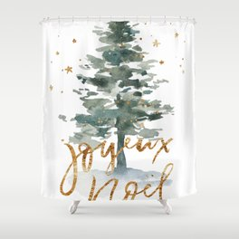 Christmas Tree Watercolors Noel Gold Typography Shower Curtain