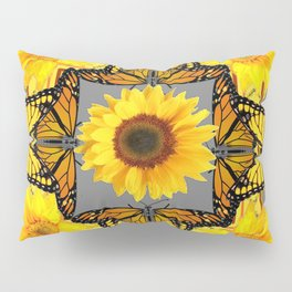 WESTERN STYLE YELLOW SUNFLOWERS & ORANGE MONARCH BUTTERFLIES Pillow Sham