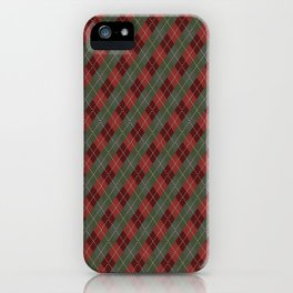 Red Green Plaid Gingham Christmas Holiday iPhone Case