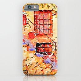 Bracciano:staircase with door and window and colored mailboxes iPhone Case