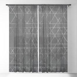 Silver Geometric Modern Pattern Trendy Black Marble II Sheer Curtain