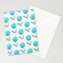 Blue Watercolor Floral Contemporary Pattern Stationery Cards