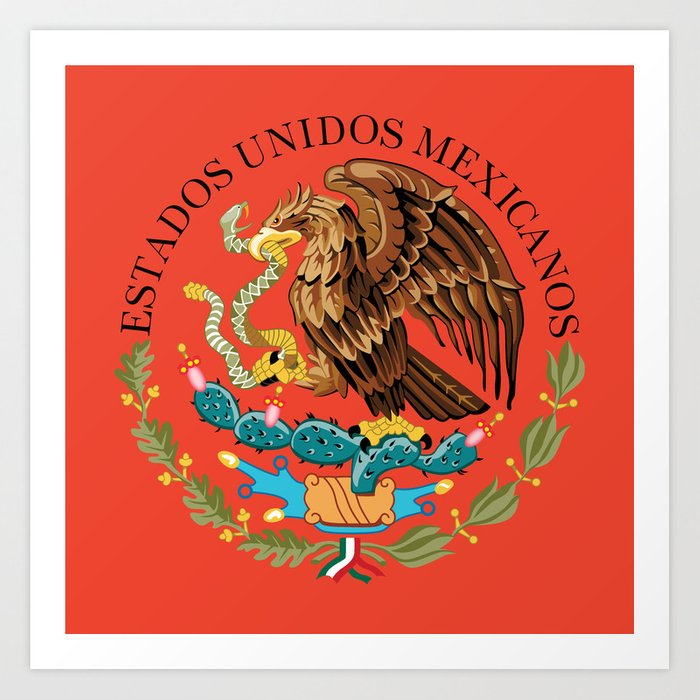 Close Up Of The Seal From The Flag Of Mexico On Adobe Red Background
