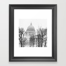 Snowy Capitol in Madison Framed Art Print