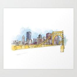 Pittsburgh Sister Bridge Art Print