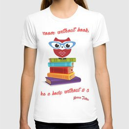owl on the books with glass  Marcus Tullius Cicero quote T-shirt