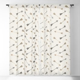 Boho Arrow Pattern - Cream, Brown and Grey Blackout Curtain