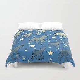 Blue Elephants Stars Pattern Duvet Cover