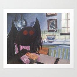 mothman in domestic bliss Art Print