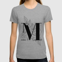 Monogram Letter M with Rose Line Art T-shirt
