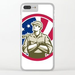 American Carpenter USA Flag Icon Clear iPhone Case