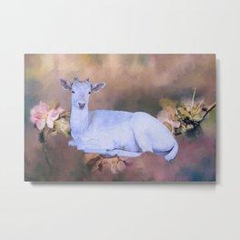 White Spirit Deer Metal Print