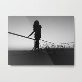santa monica silhouette Metal Print
