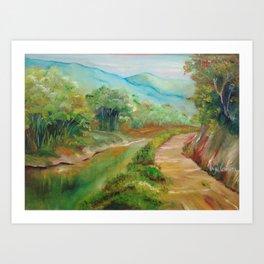 Caminho por terra e água (Road across land and water) Art Print