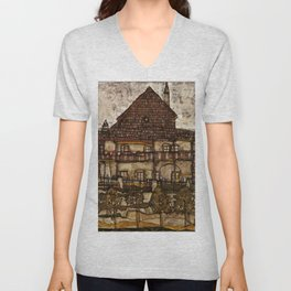 "Egon Schiele ""House with Shingle Roof (Old House II)"" Unisex V-Neck"