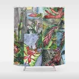 Christmas Cactus - Watecolor Painting Collage / Botanical Art / Floral Illustratin Shower Curtain
