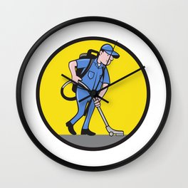 Commercial Cleaner Janitor Vacuum Circle Cartoon Wall Clock
