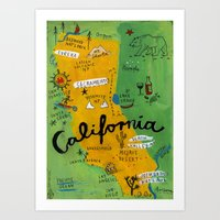 postcard Art Prints featuring Postcard from California by Christiane Engel
